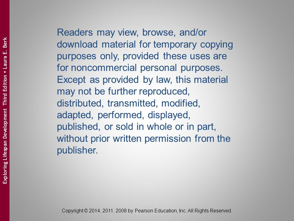 Readers may view, browse, and/or download material for temporary copying purposes only, provided these uses are for noncommercial personal purposes. Except as provided by law, this material may not be further reproduced, distributed, transmitted, modified, adapted, performed, displayed, published, or sold in whole or in part, without prior written permission from the publisher.