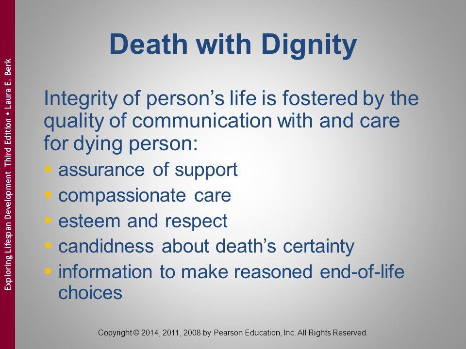 Death with Dignity Integrity of person's life is fostered by the quality of communication with and care for dying person:
