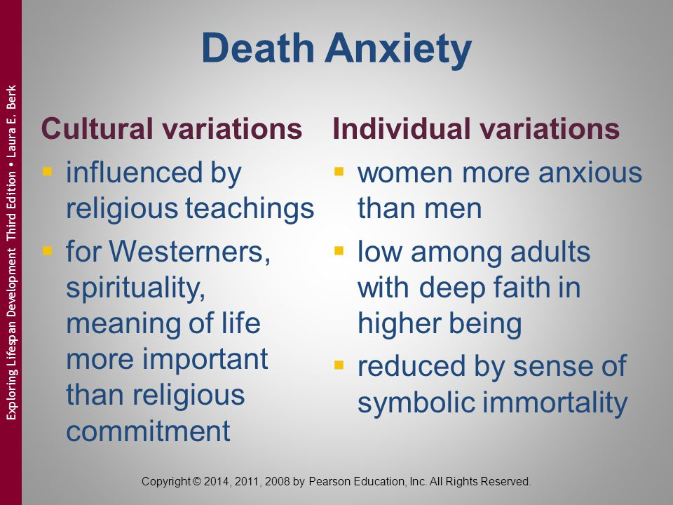 Death Anxiety Cultural variations influenced by religious teachings