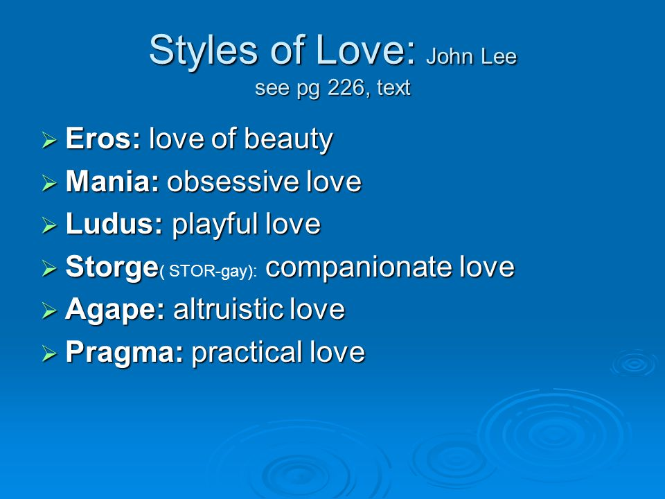 Styles of Love: John Lee see pg 226, text