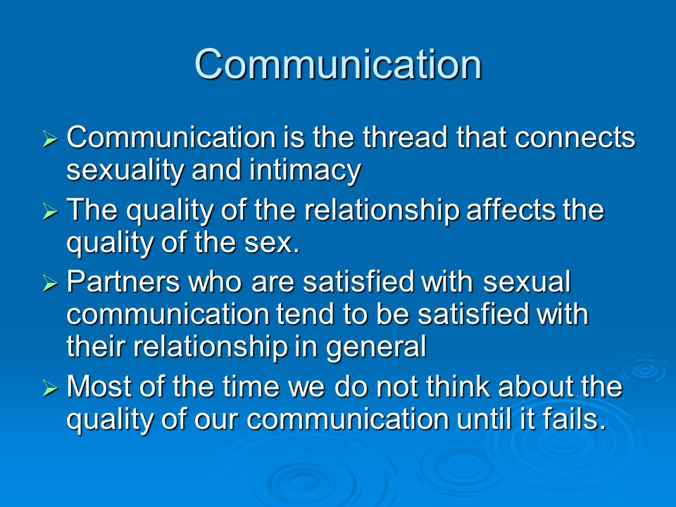 Communicating about intimacy and sexual frequency