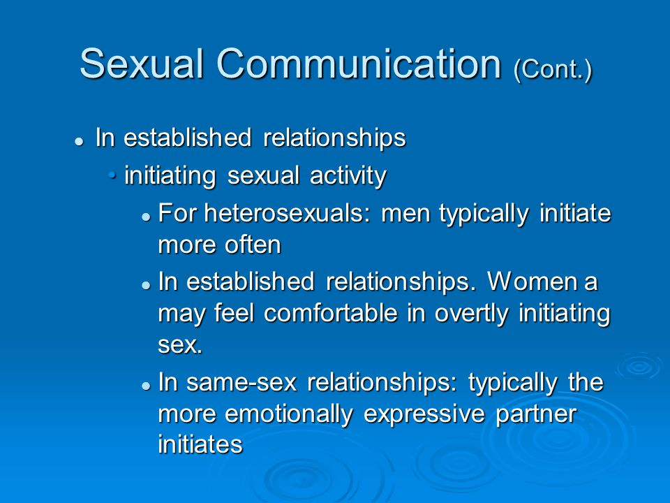 Sexual Communication (Cont.)