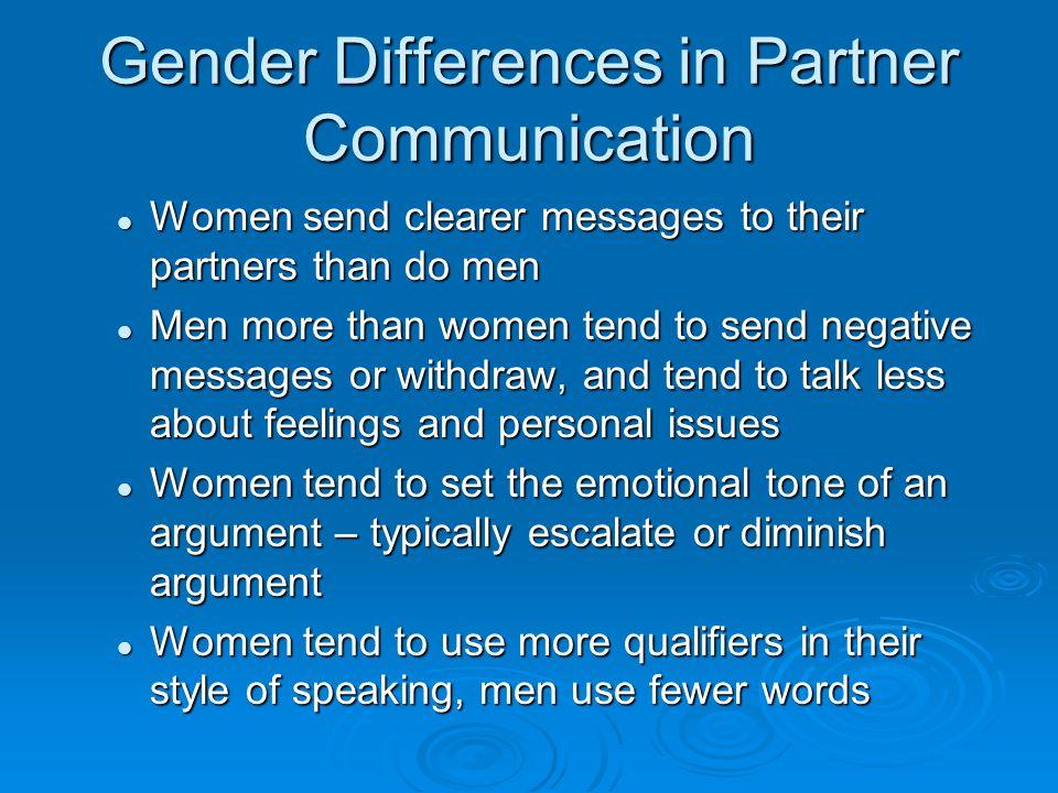 Gender Differences in Partner Communication