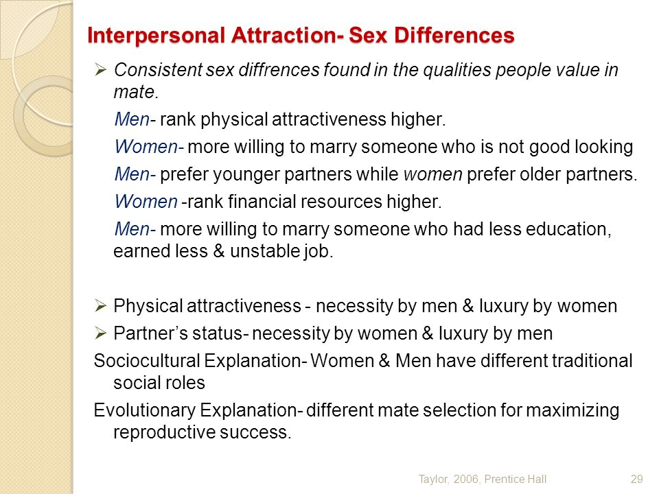 Interpersonal Attraction- Sex Differences