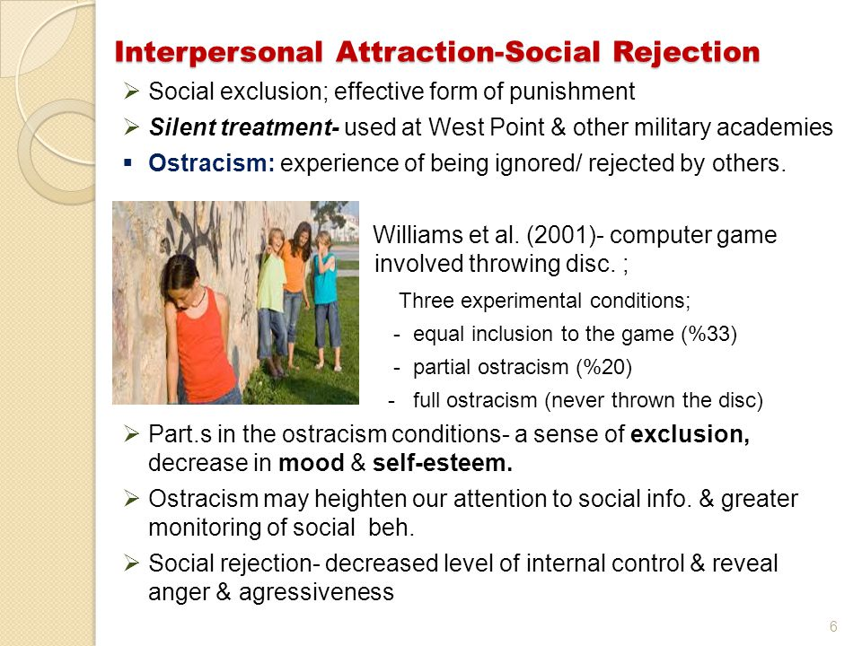 Interpersonal Attraction-Social Rejection