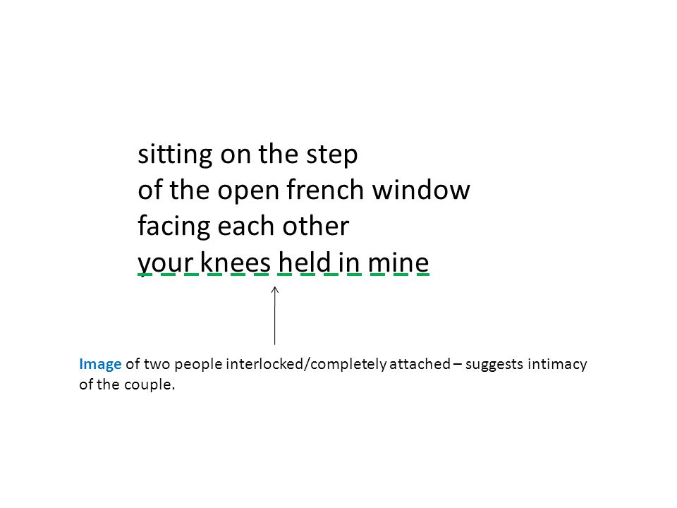 of the open french window facing each other your knees held in mine
