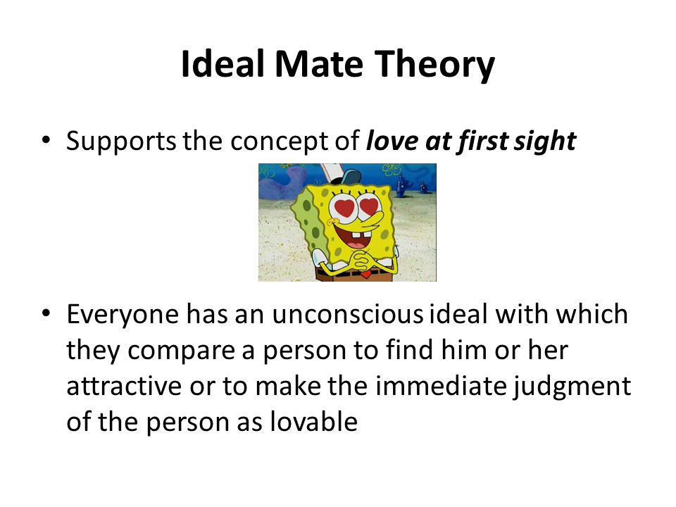 Ideal Mate Theory Supports the concept of love at first sight