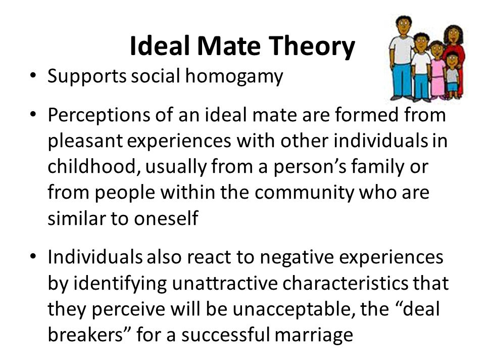 Ideal Mate Theory Supports social homogamy