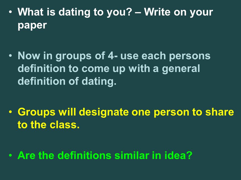 What is dating to you – Write on your paper