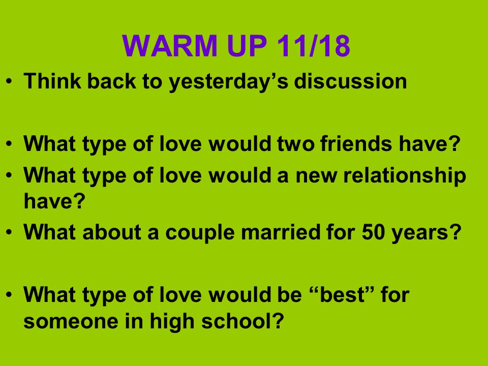 WARM UP 11/18 Think back to yesterday's discussion