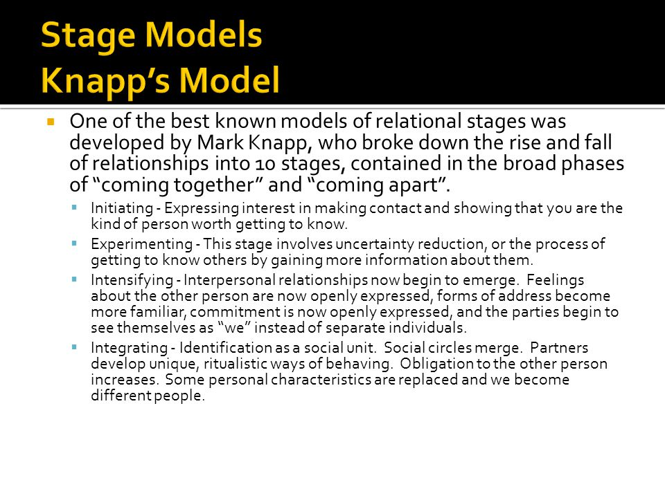Stage Models Knapp's Model