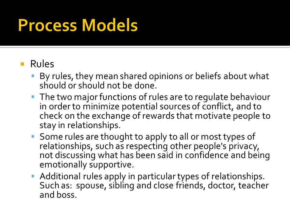 Process Models Rules. By rules, they mean shared opinions or beliefs about what should or should not be done.