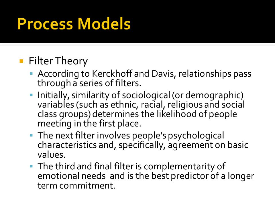 Process Models Filter Theory