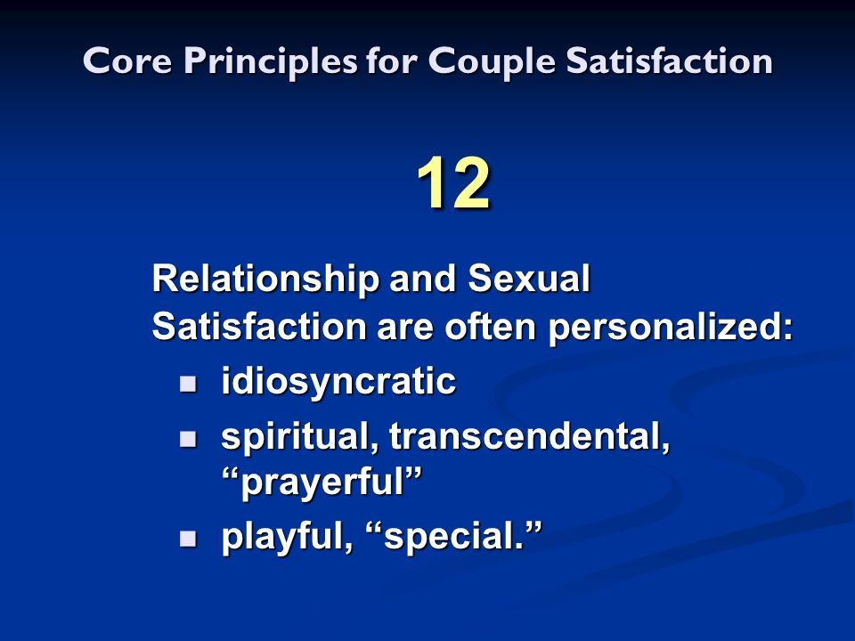 Core Principles for Couple Satisfaction