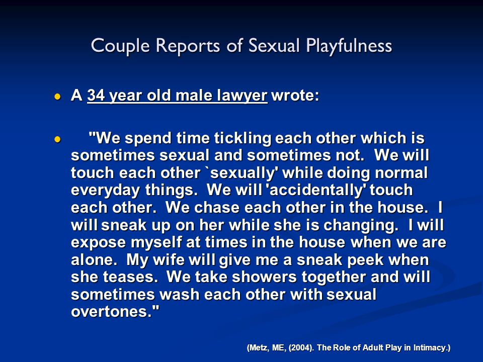 Couple Reports of Sexual Playfulness