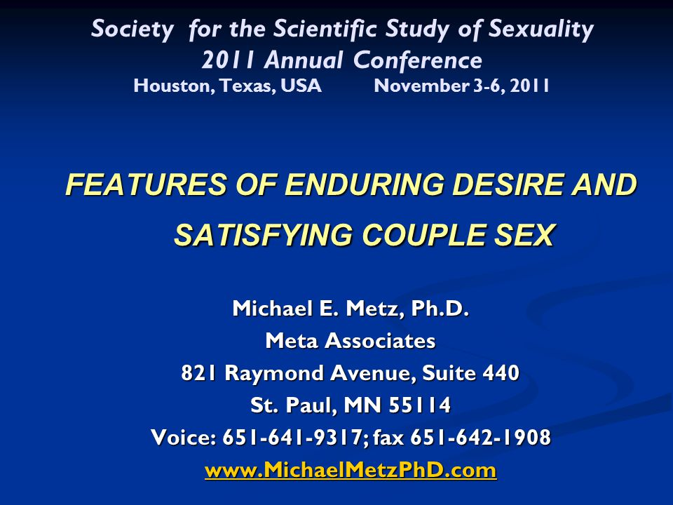 FEATURES OF ENDURING DESIRE AND SATISFYING COUPLE SEX