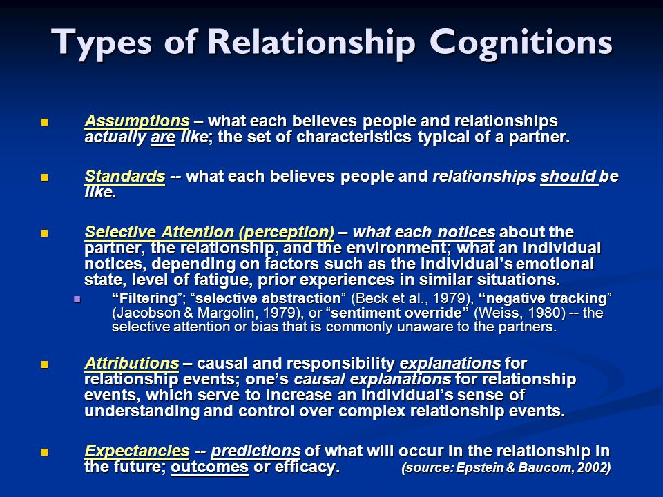 Types of Relationship Cognitions