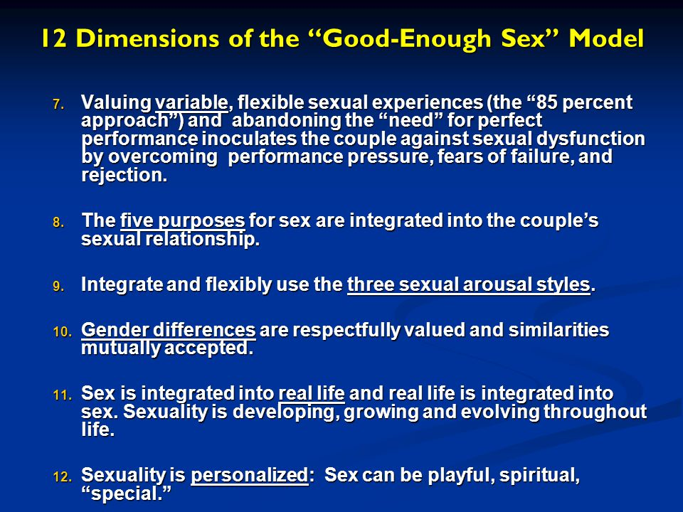 12 Dimensions of the Good-Enough Sex Model