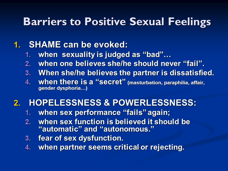 Barriers to Positive Sexual Feelings