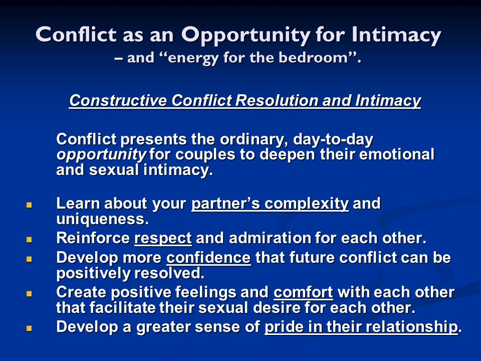 Constructive Conflict Resolution and Intimacy
