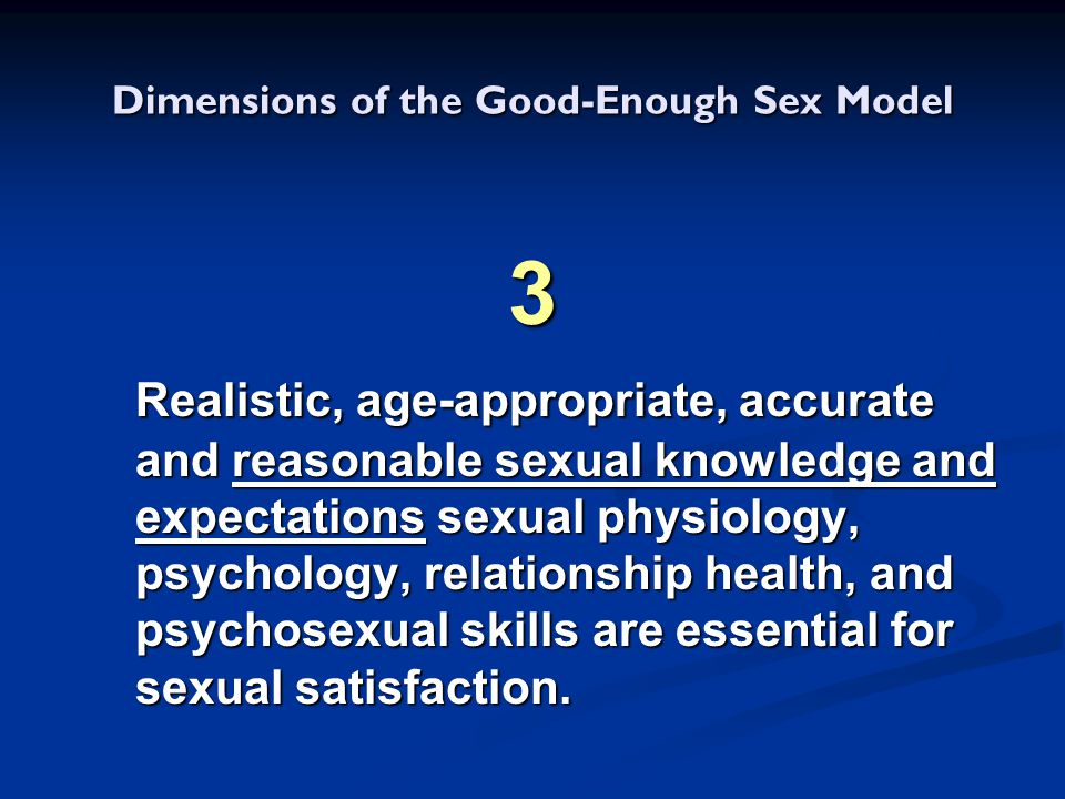 Dimensions of the Good-Enough Sex Model