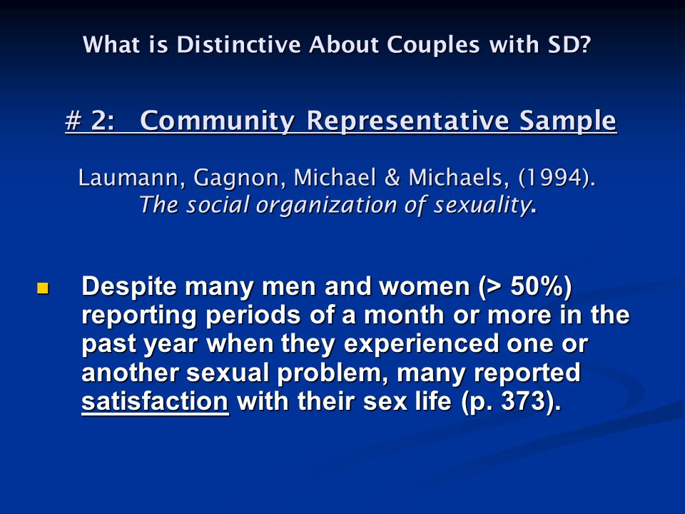 What is Distinctive About Couples with SD