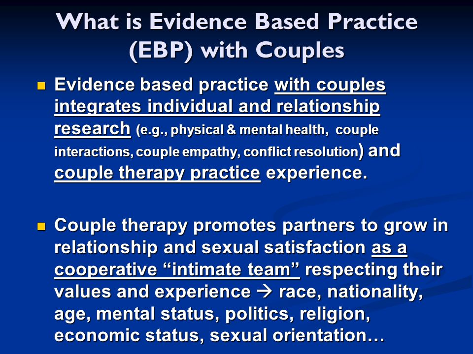 What is Evidence Based Practice (EBP) with Couples