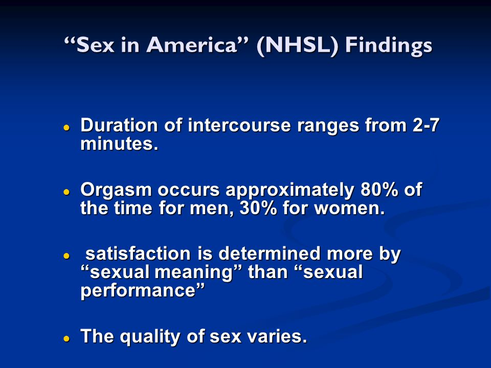 Sex in America (NHSL) Findings