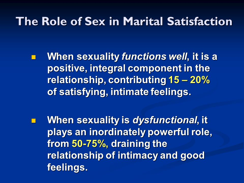 The Role of Sex in Marital Satisfaction
