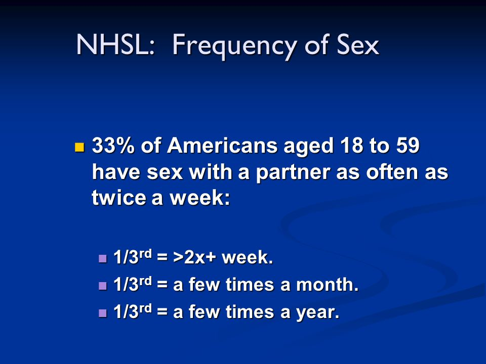 NHSL: Frequency of Sex 33% of Americans aged 18 to 59 have sex with a partner as often as twice a week: