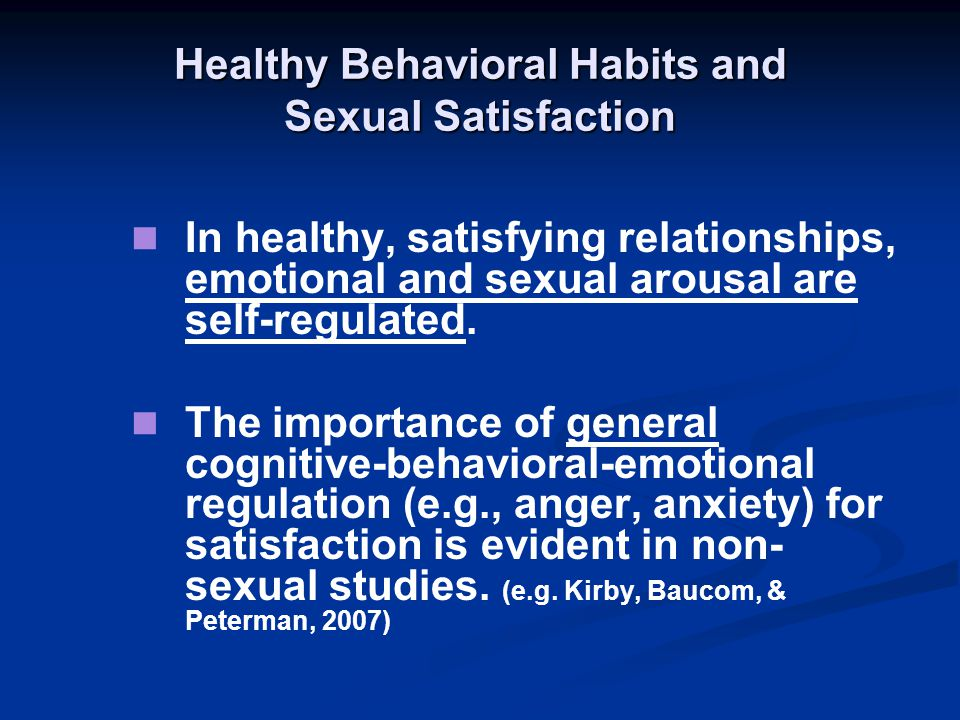 Healthy Behavioral Habits and Sexual Satisfaction