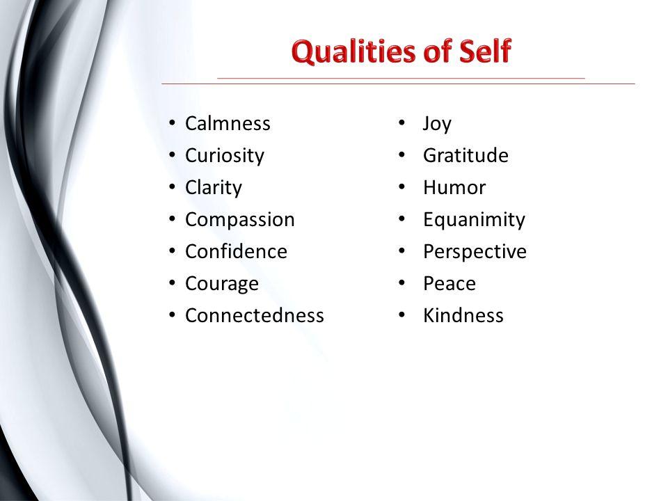 Qualities of Self Calmness Joy Curiosity Gratitude Clarity Humor
