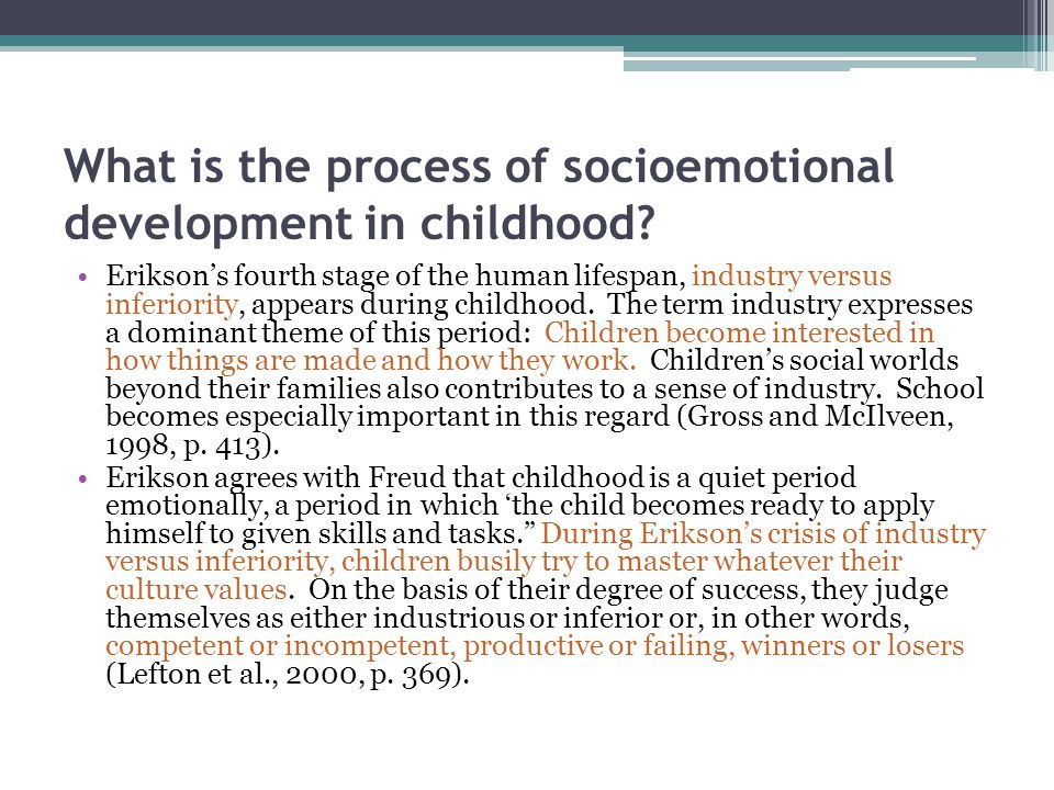 What is the process of socioemotional development in childhood