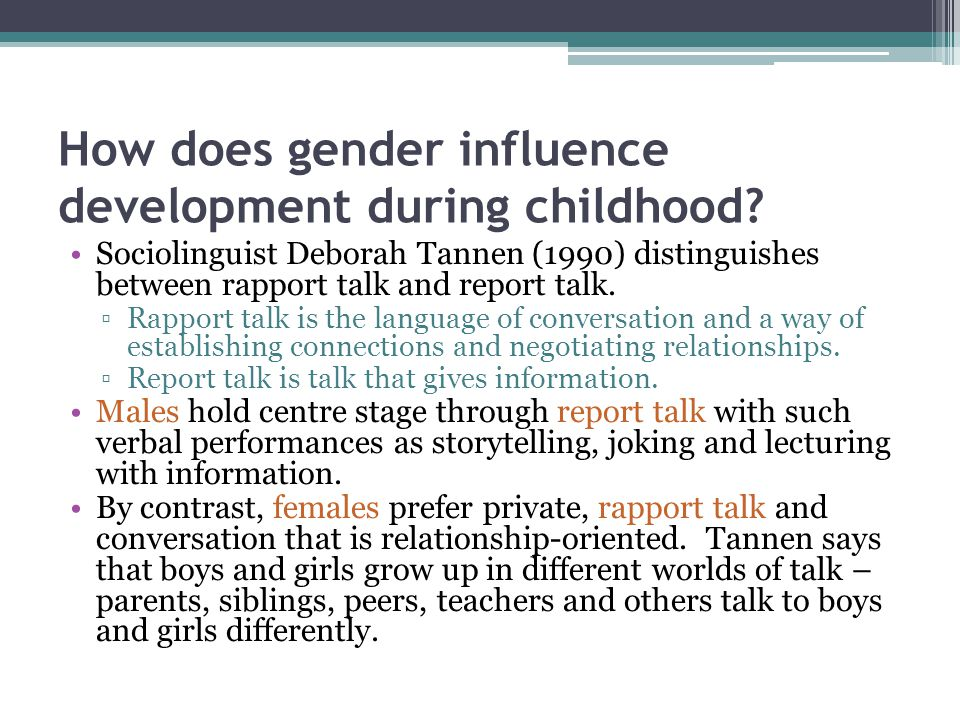 How does gender influence development during childhood