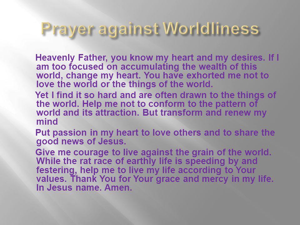 Prayer against Worldliness
