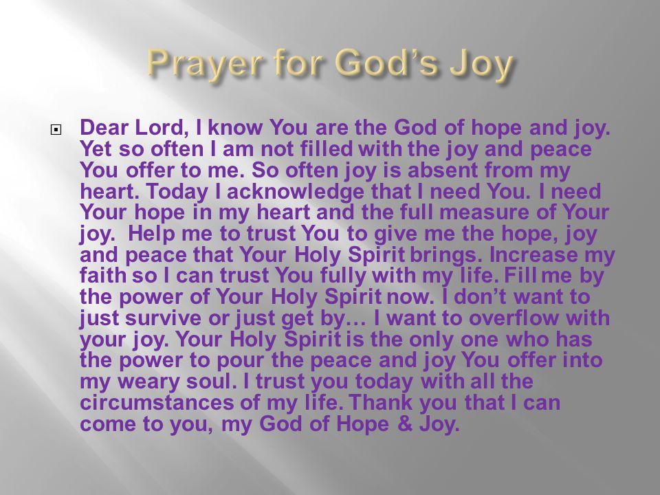 Prayer for God's Joy