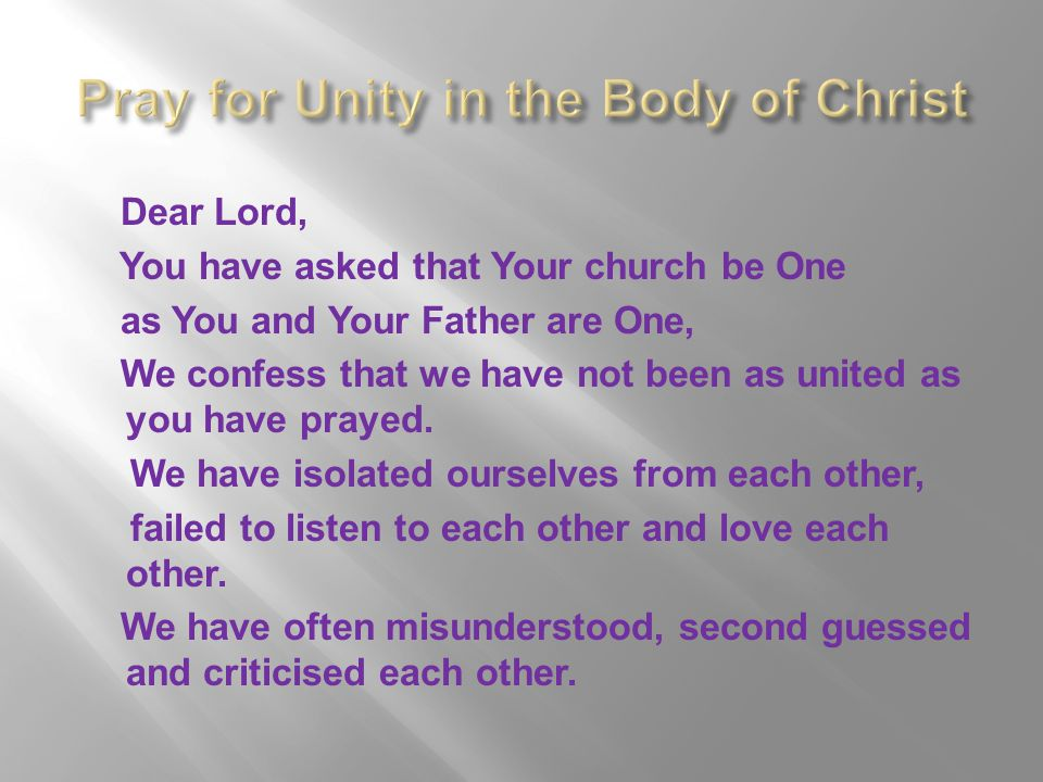 Pray for Unity in the Body of Christ