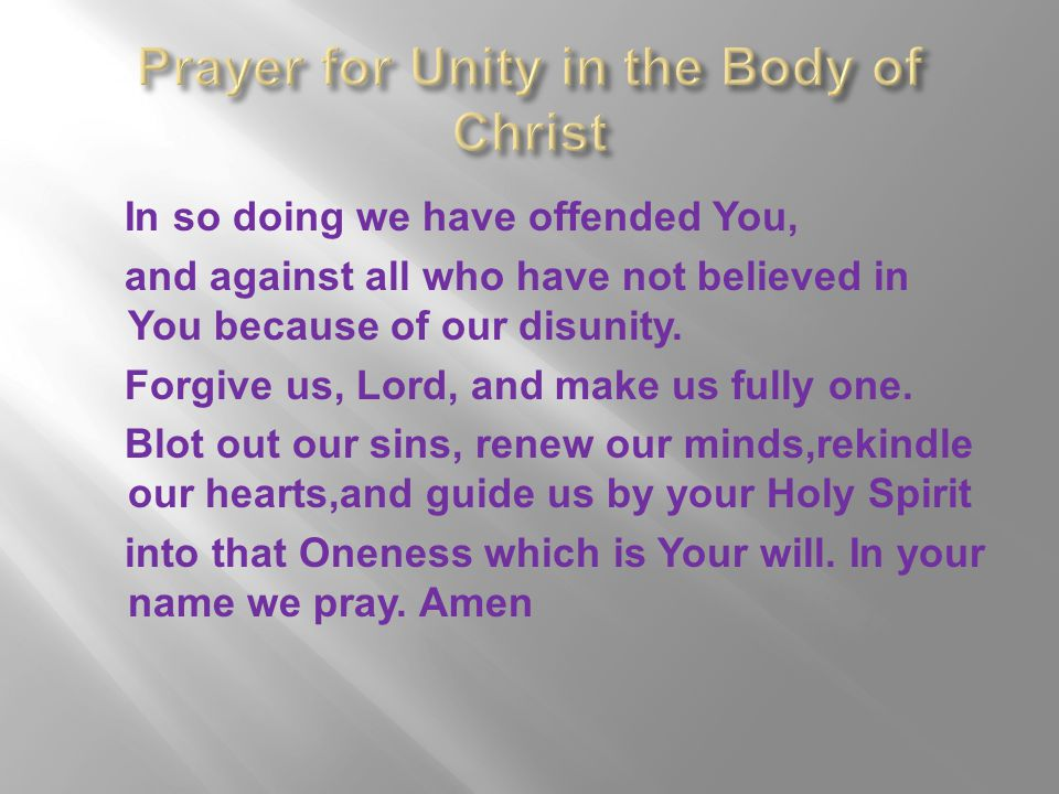 Prayer for Unity in the Body of Christ