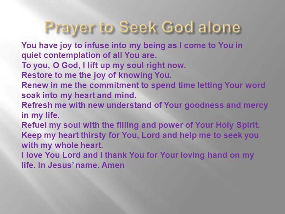 Prayer to Seek God alone