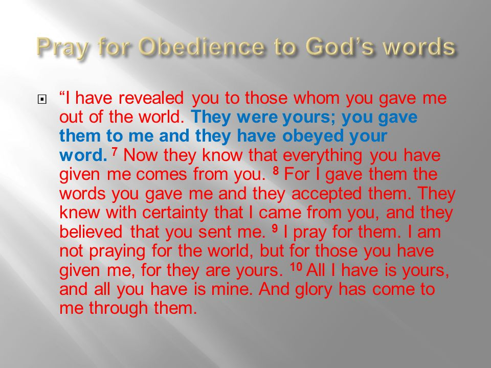 Pray for Obedience to God's words