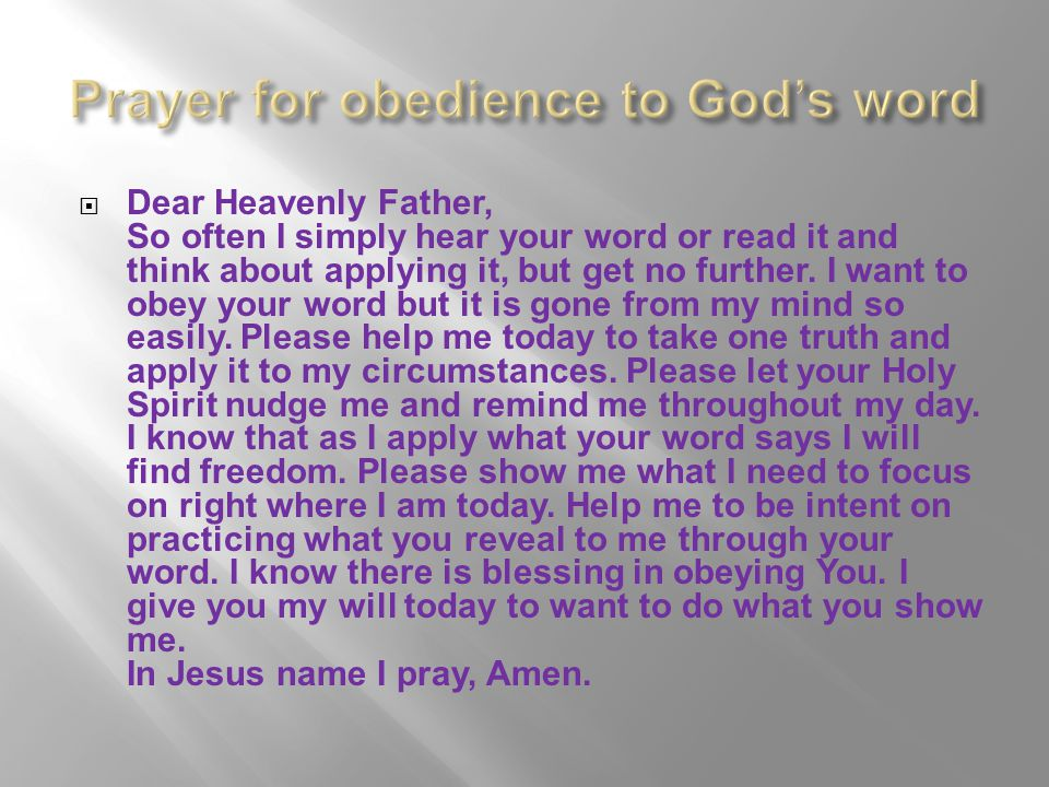 Prayer for obedience to God's word