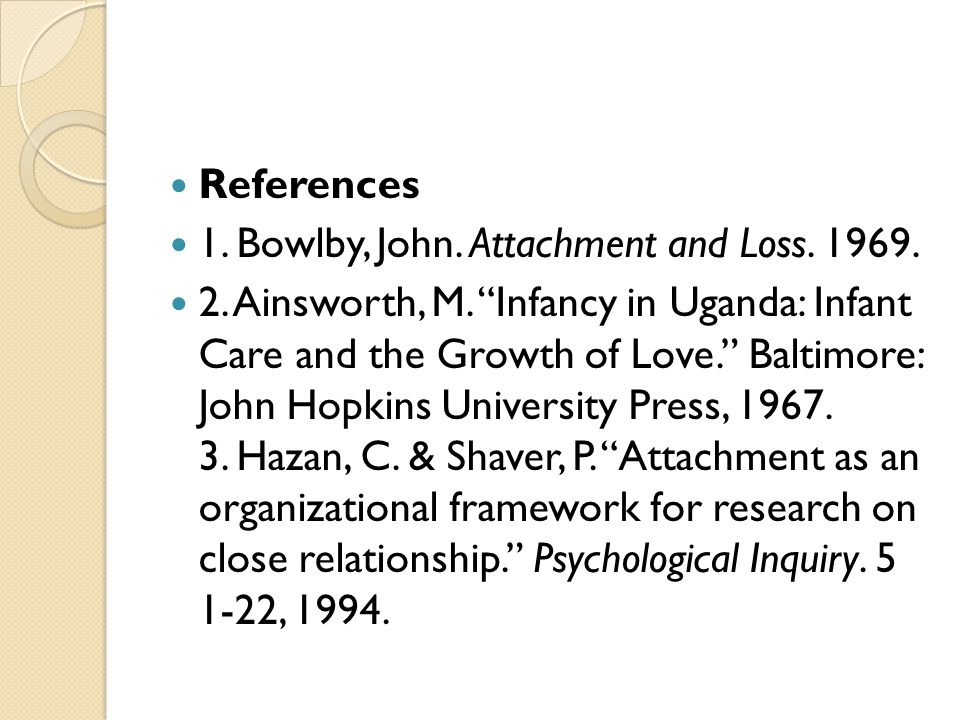 References 1. Bowlby, John. Attachment and Loss. 1969.