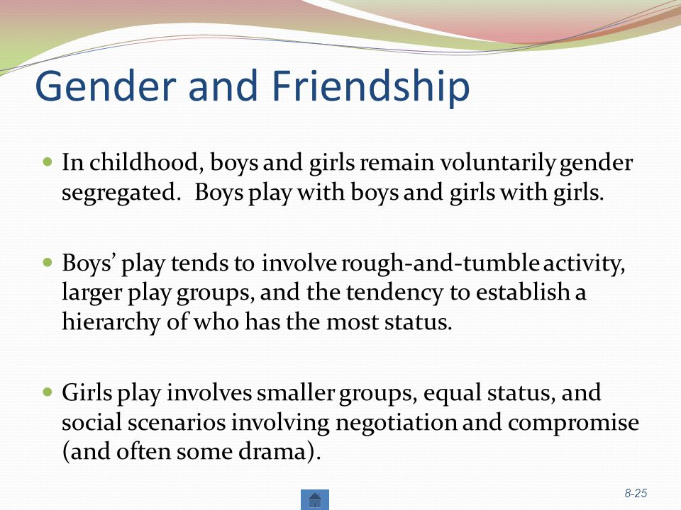 Gender and Friendship In childhood, boys and girls remain voluntarily gender segregated. Boys play with boys and girls with girls.