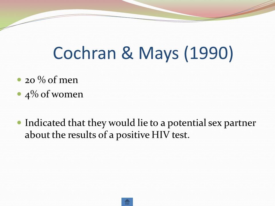 Cochran & Mays (1990) 20 % of men 4% of women