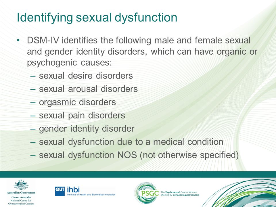 Identifying sexual dysfunction