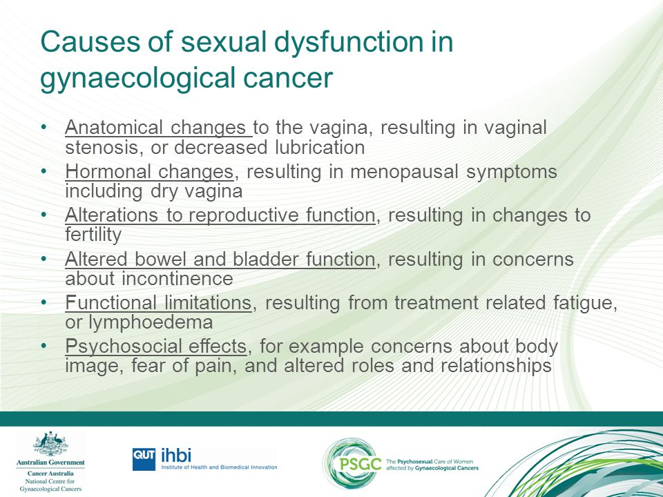 Causes of sexual dysfunction in gynaecological cancer