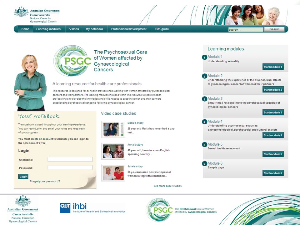The home page of the PSGC resource on the Cancer Learning website. (www.cancerlearning.gov.au)