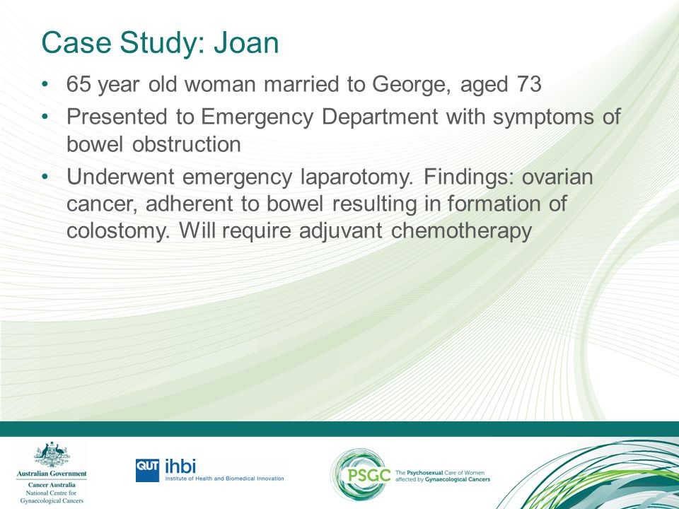 Case Study: Joan 65 year old woman married to George, aged 73