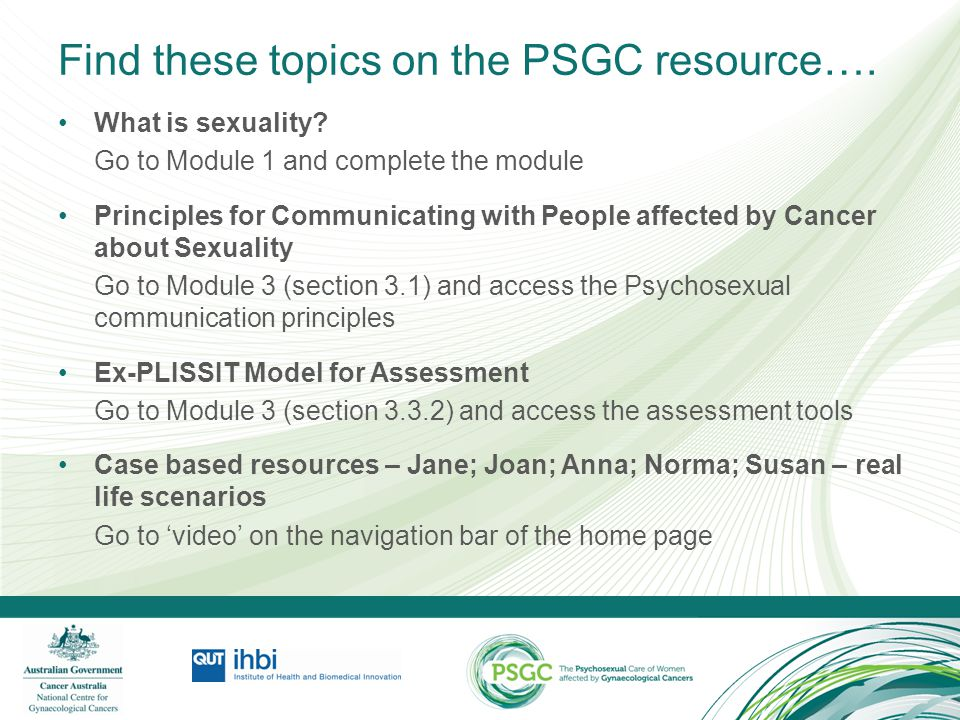 Find these topics on the PSGC resource….