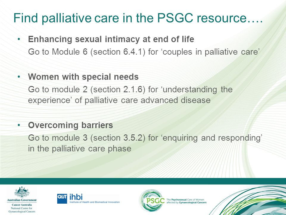 Find palliative care in the PSGC resource….